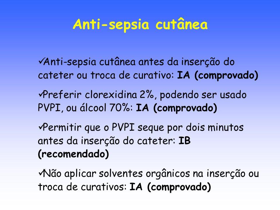 Anti-sepsia cutânea antes da inserção do cateter ou troca de curativo: IA (comprovado) Preferir clorexidina 2%, podendo ser usado PVPI, ou álcool 70%:
