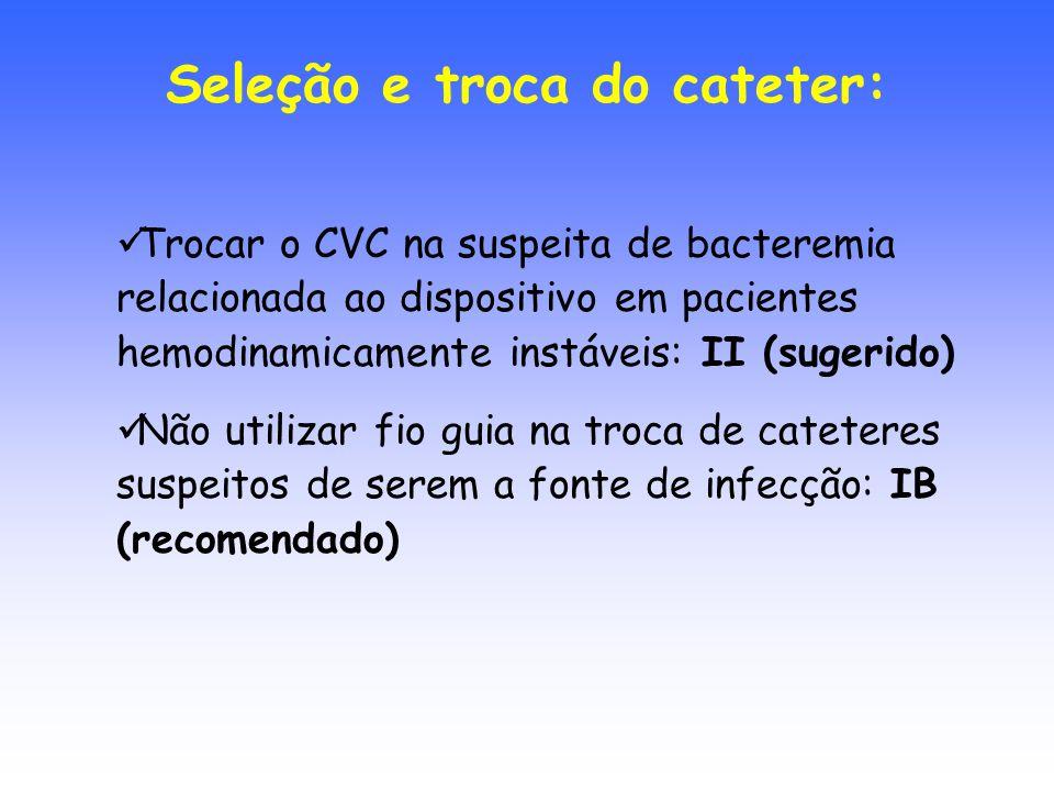 Trocar o CVC na suspeita de bacteremia relacionada ao dispositivo em pacientes hemodinamicamente instáveis: II (sugerido) Não utilizar fio guia na tro