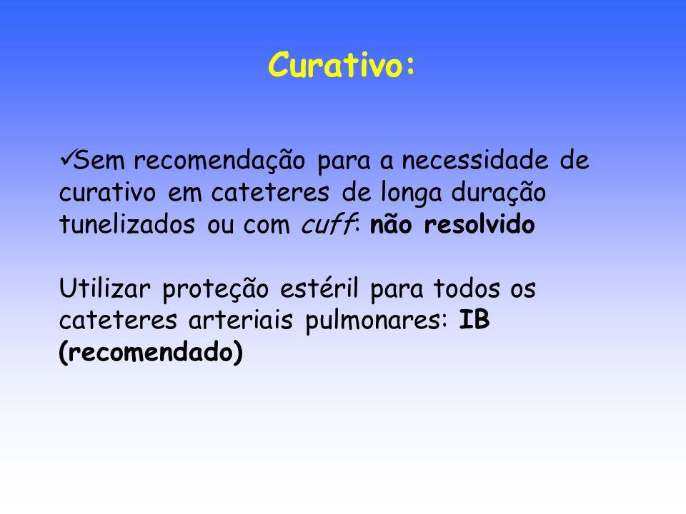 Sem recomendação para a necessidade de curativo em cateteres de longa duração tunelizados ou com cuff: não resolvido Utilizar proteção estéril para to