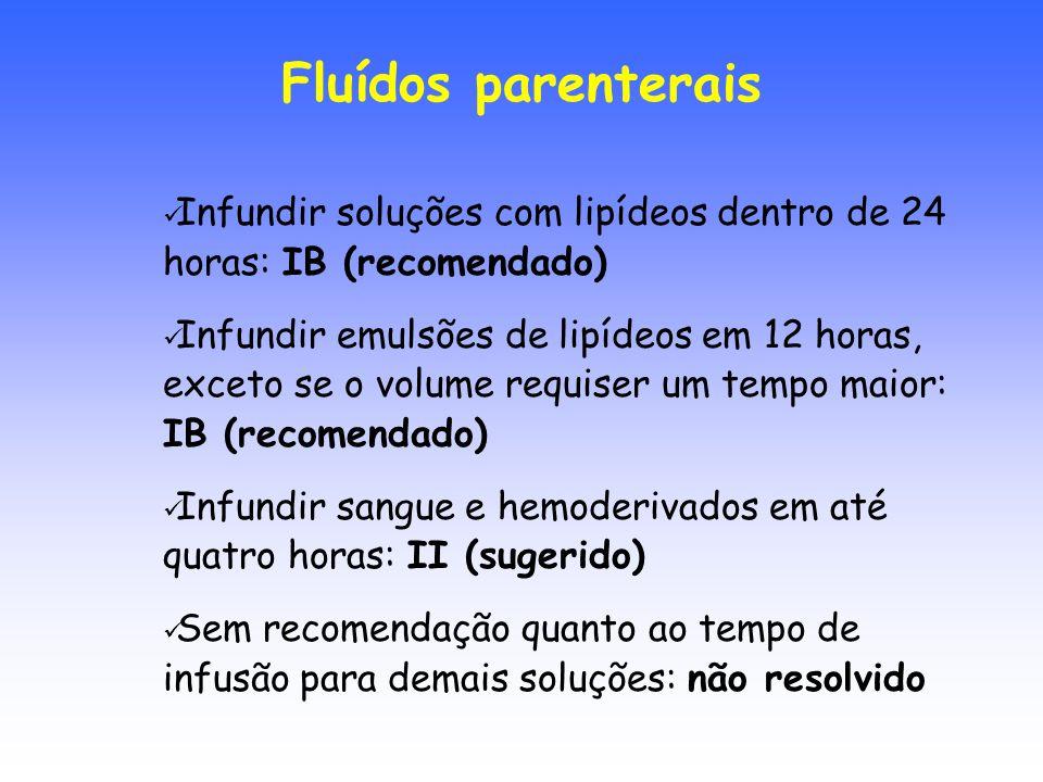 Infundir soluções com lipídeos dentro de 24 horas: IB (recomendado) Infundir emulsões de lipídeos em 12 horas, exceto se o volume requiser um tempo ma