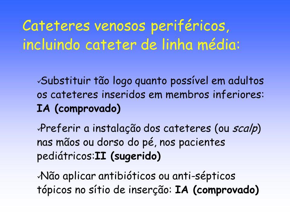 Substituir tão logo quanto possível em adultos os cateteres inseridos em membros inferiores: IA (comprovado) Preferir a instalação dos cateteres (ou s