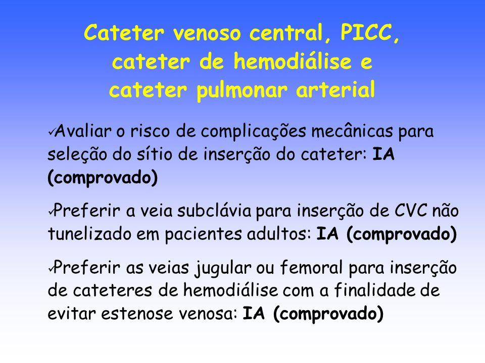 Avaliar o risco de complicações mecânicas para seleção do sítio de inserção do cateter: IA (comprovado) Preferir a veia subclávia para inserção de CVC