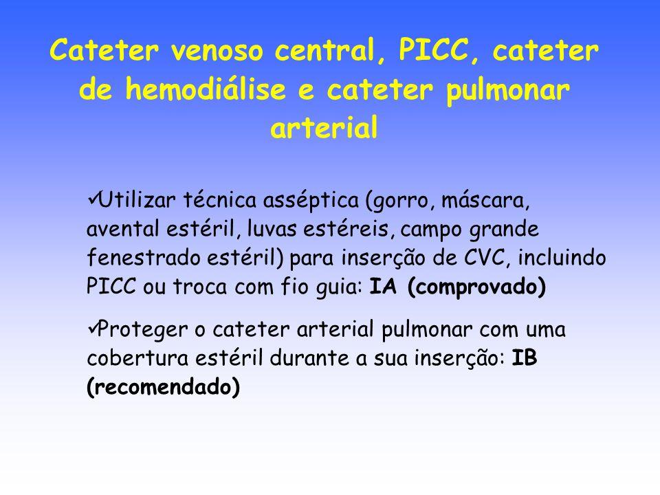 Utilizar técnica asséptica (gorro, máscara, avental estéril, luvas estéreis, campo grande fenestrado estéril) para inserção de CVC, incluindo PICC ou