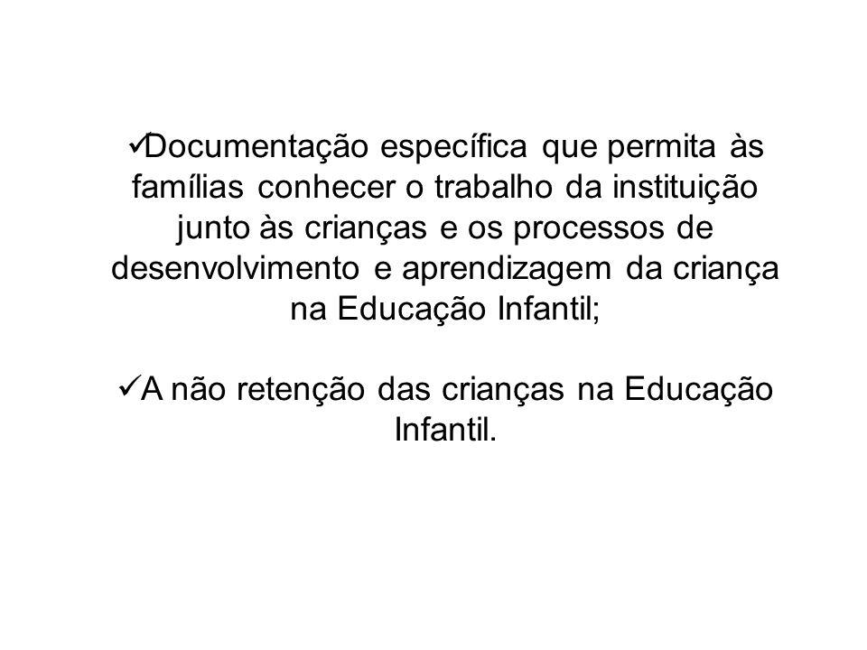 Documentação específica que permita às famílias conhecer o trabalho da instituição junto às crianças e os processos de desenvolvimento e aprendizagem da criança na Educação Infantil; A não retenção das crianças na Educação Infantil.