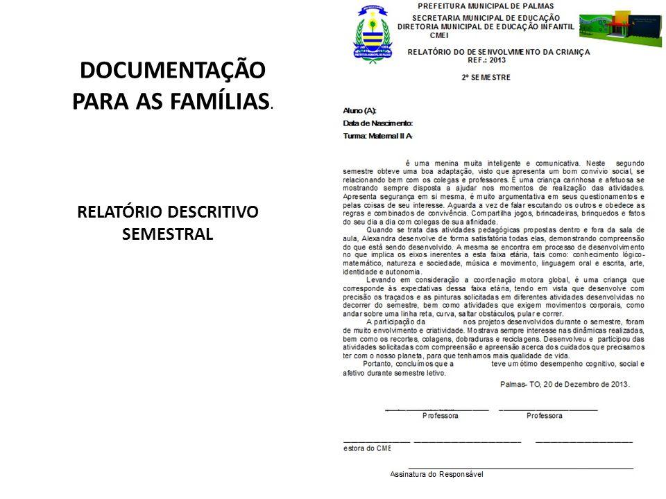 RELATÓRIO DESCRITIVO SEMESTRAL DOCUMENTAÇÃO PARA AS FAMÍLIAS.