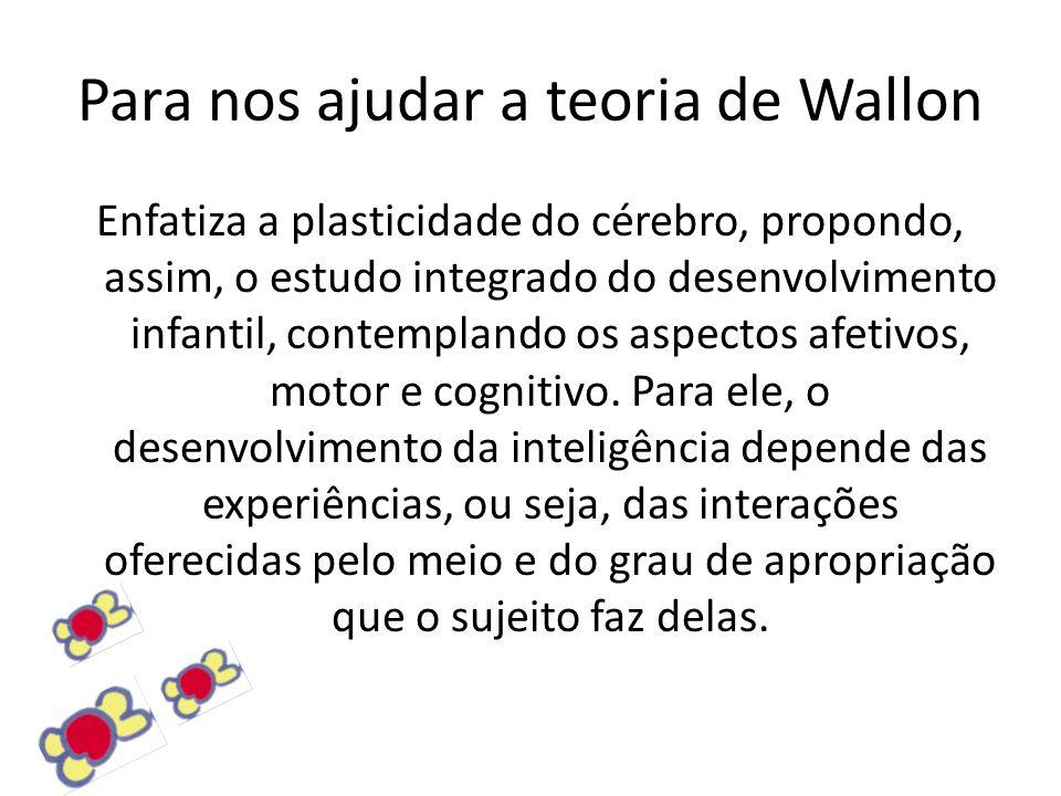 Para nos ajudar a teoria de Wallon Enfatiza a plasticidade do cérebro, propondo, assim, o estudo integrado do desenvolvimento infantil, contemplando os aspectos afetivos, motor e cognitivo.