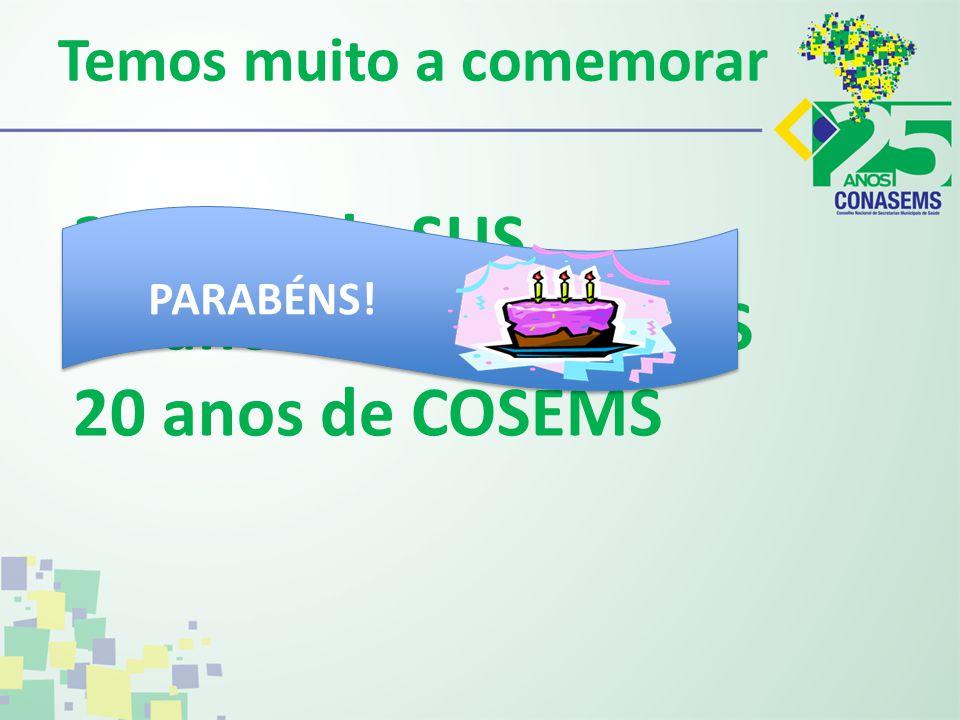Temos muito a comemorar 25 anos de SUS 25 anos de CONASEMS 20 anos de COSEMS PARABÉNS!