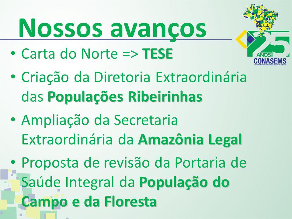 Nossos avanços TESE Carta do Norte => TESE Populações Ribeirinhas Criação da Diretoria Extraordinária das Populações Ribeirinhas Amazônia Legal Amplia
