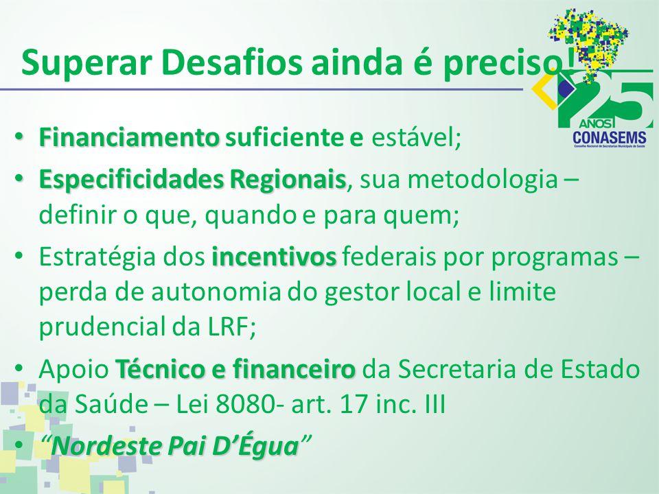 Superar Desafios ainda é preciso! Financiamento Financiamento suficiente e estável; EspecificidadesRegionais Especificidades Regionais, sua metodologi