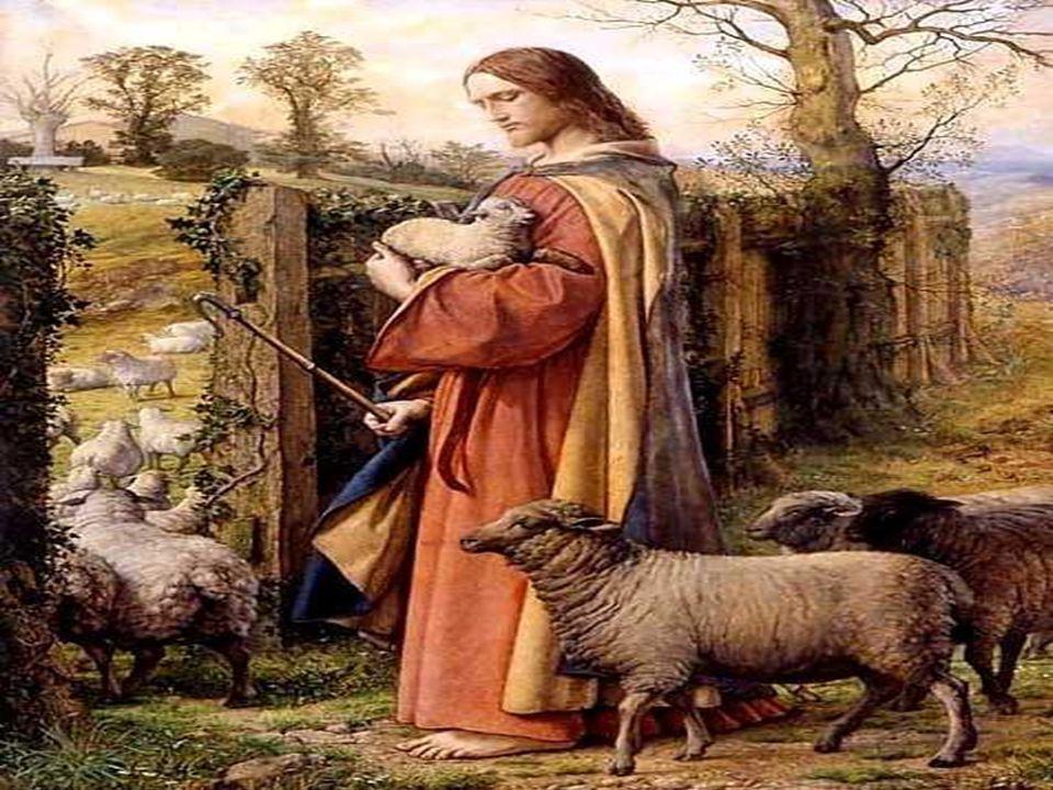 1. Na primeira parte, aparece a figura do Bom Pastor, numa atitude de ternura com as ovelhas... Ele as conhece, as chama pelo nome, caminha com elas e