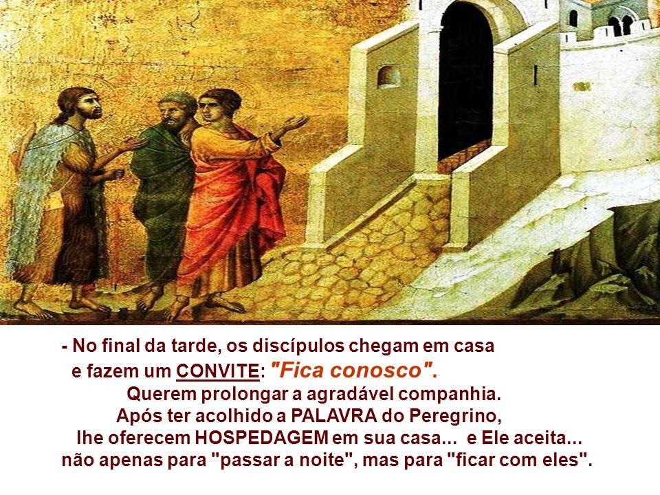 - O Peregrino interpreta as ESCRITURAS, que falam do Messias... Eles escutam com interesse... e seus corações começam a