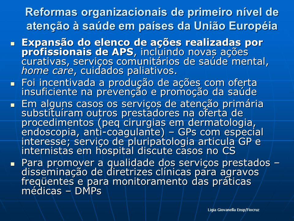 Reformas organizacionais de primeiro nível de atenção à saúde em países da União Européia Expansão do elenco de ações realizadas por profissionais de