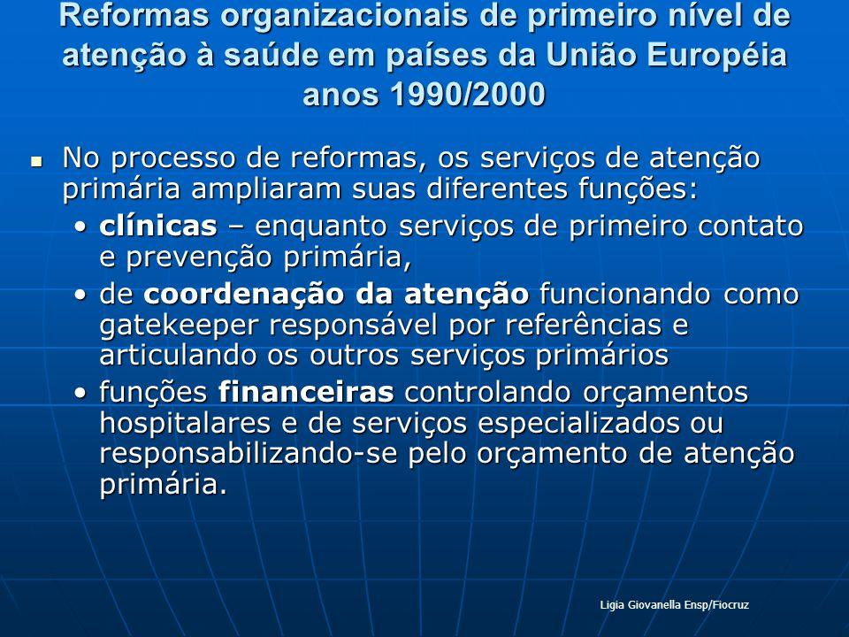 Reformas organizacionais de primeiro nível de atenção à saúde em países da União Européia anos 1990/2000 No processo de reformas, os serviços de atenç