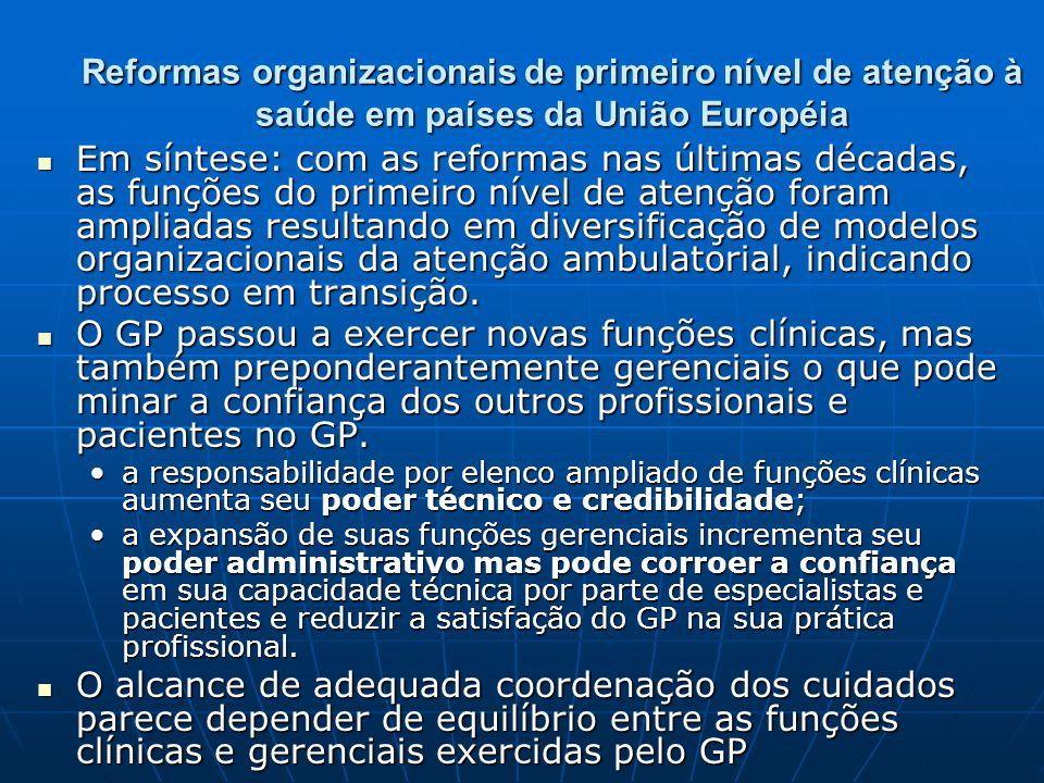 Reformas organizacionais de primeiro nível de atenção à saúde em países da União Européia Em síntese: com as reformas nas últimas décadas, as funções