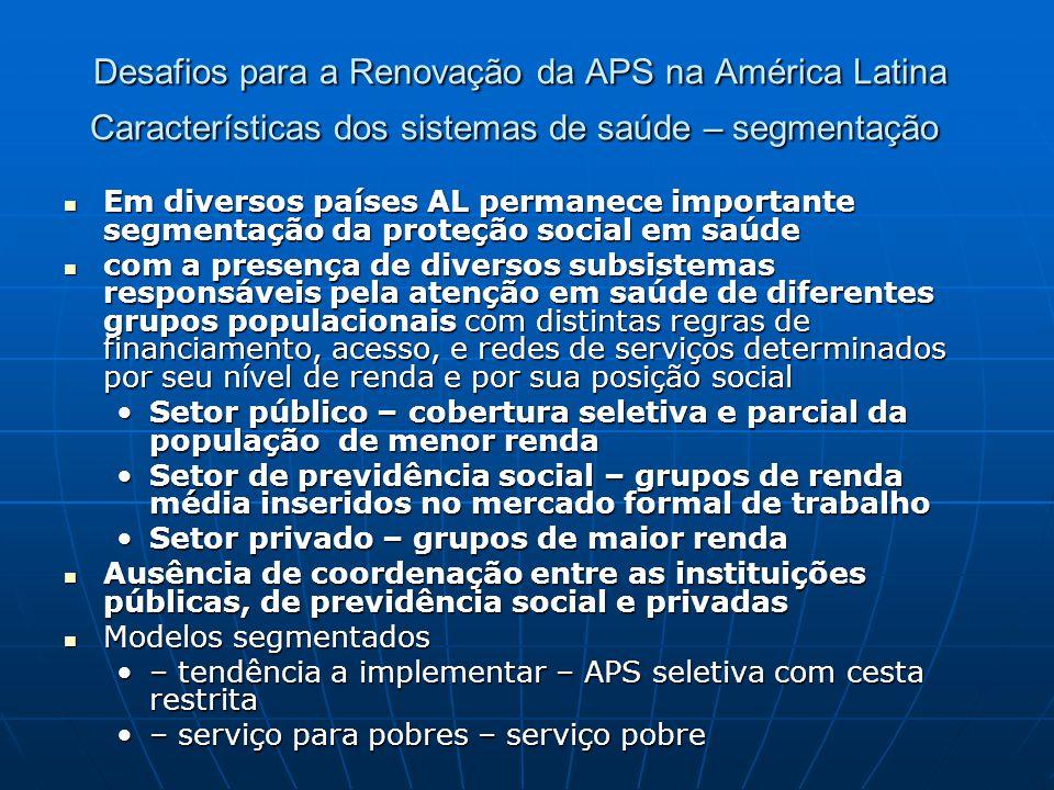 Desafios para a Renovação da APS na América Latina Características dos sistemas de saúde – segmentação Desafios para a Renovação da APS na América Lat