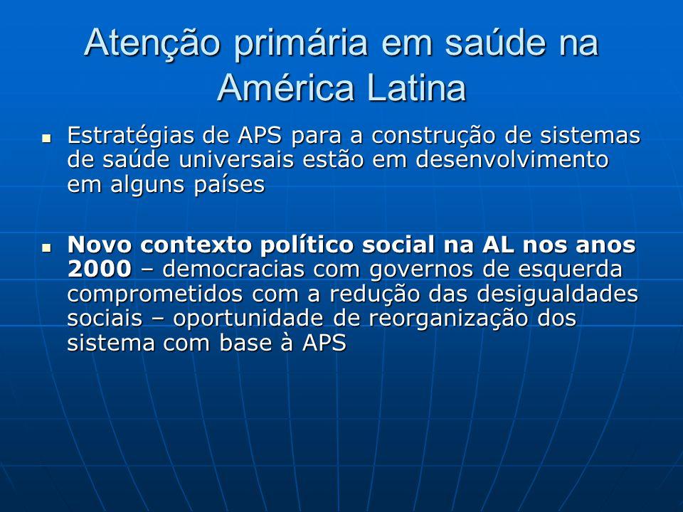Atenção primária em saúde na América Latina Estratégias de APS para a construção de sistemas de saúde universais estão em desenvolvimento em alguns pa