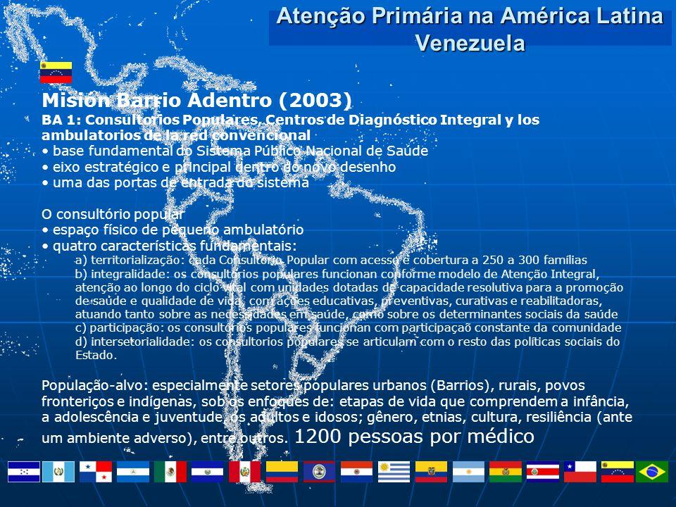 Atenção Primária na América Latina Venezuela Misión Barrio Adentro (2003) BA 1: Consultorios Populares, Centros de Diagnóstico Integral y los ambulato