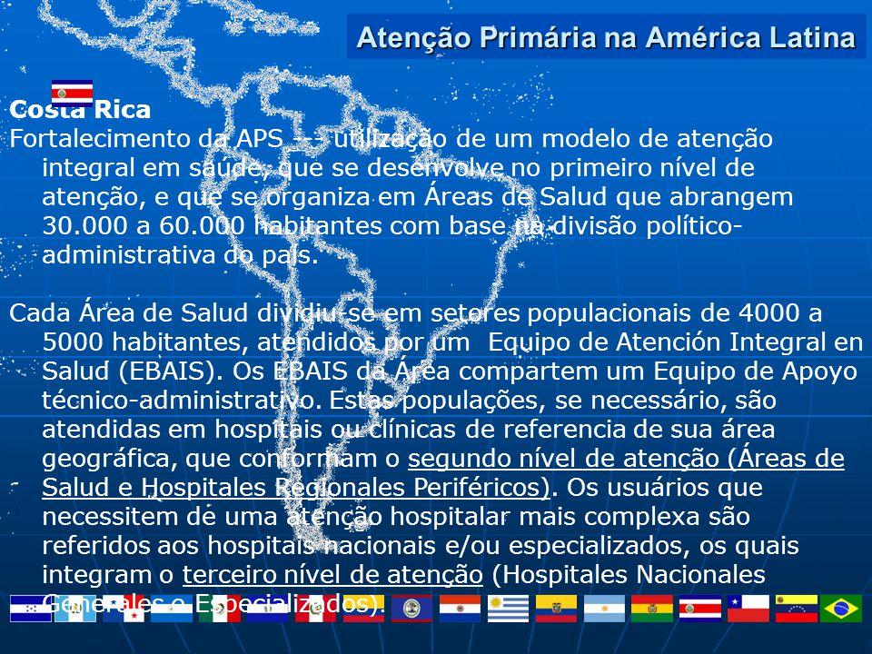 Atenção Primária na América Latina Costa Rica Fortalecimento da APS --- utilização de um modelo de atenção integral em saúde, que se desenvolve no pri