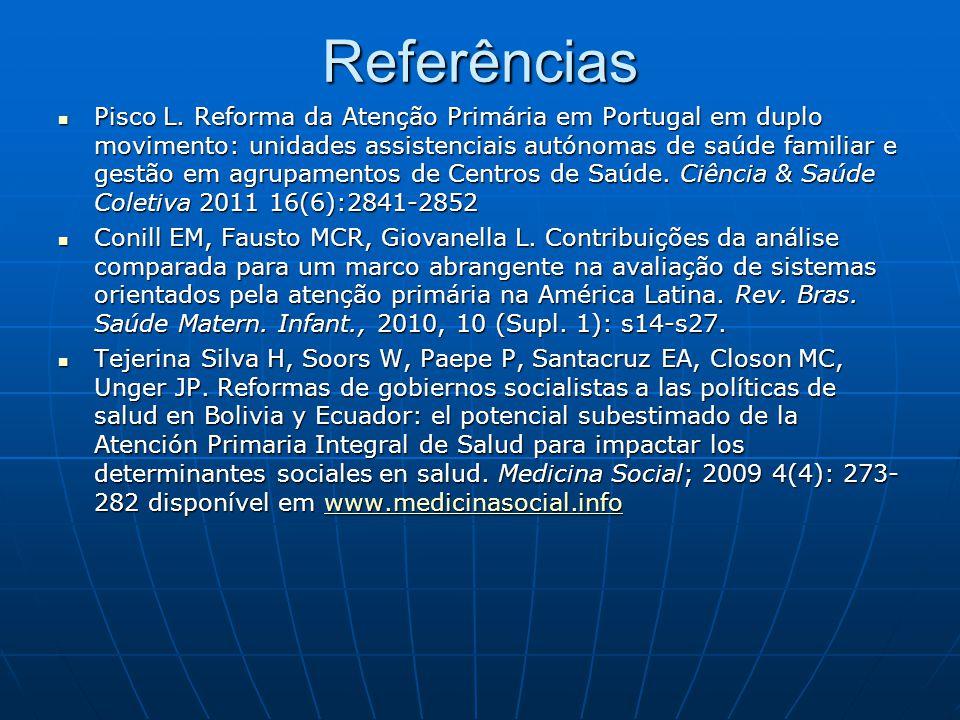 Referências Pisco L. Reforma da Atenção Primária em Portugal em duplo movimento: unidades assistenciais autónomas de saúde familiar e gestão em agrupa