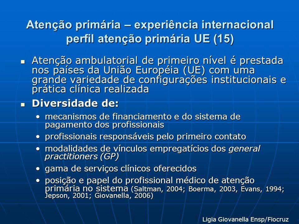 Atenção primária – experiência internacional perfil atenção primária UE (15) Atenção ambulatorial de primeiro nível é prestada nos países da União Eur