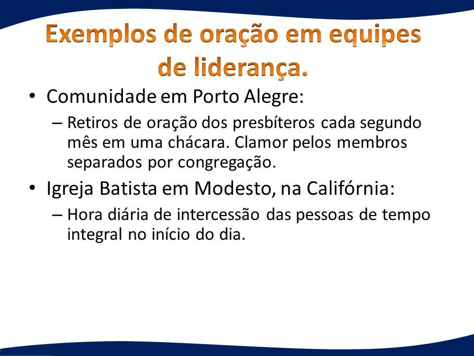 Comunidade em Porto Alegre: – Retiros de oração dos presbíteros cada segundo mês em uma chácara. Clamor pelos membros separados por congregação. Igrej
