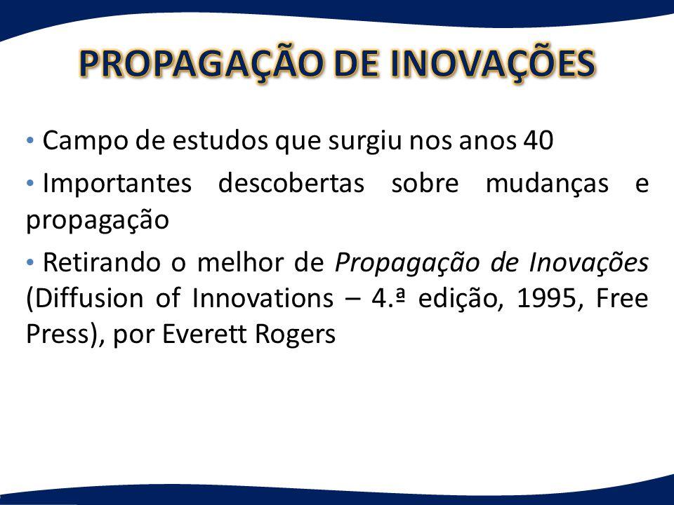 Campo de estudos que surgiu nos anos 40 Importantes descobertas sobre mudanças e propagação Retirando o melhor de Propagação de Inovações (Diffusion of Innovations – 4.ª edição, 1995, Free Press), por Everett Rogers