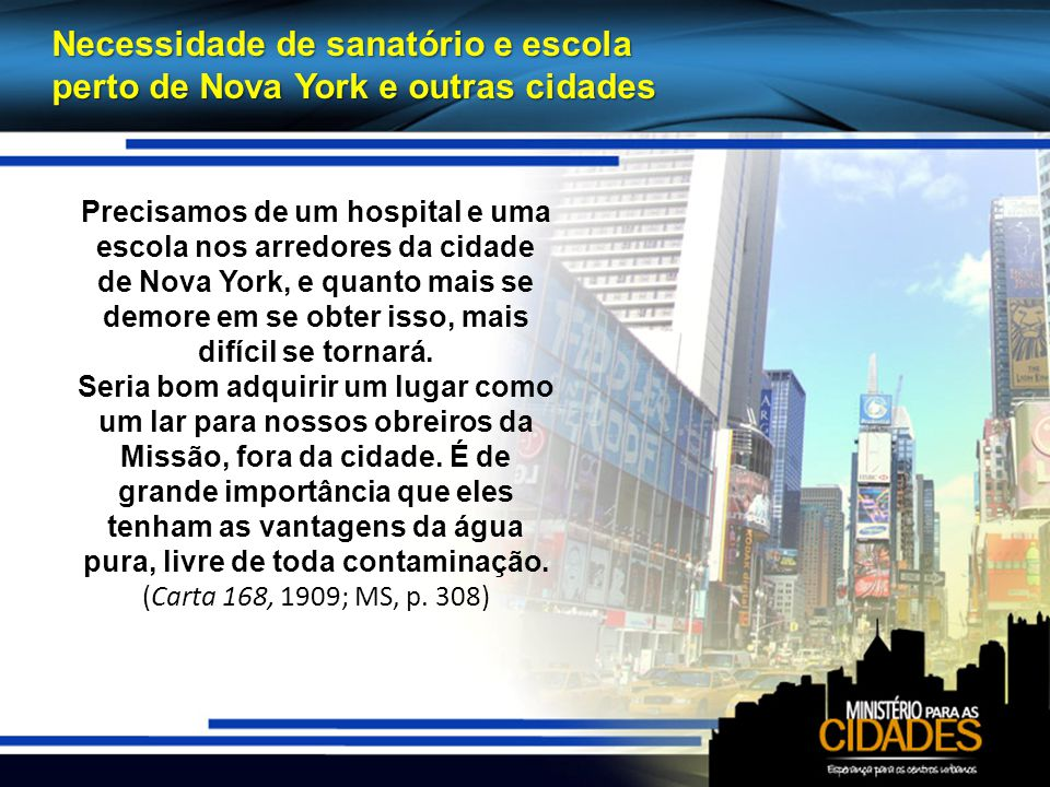 Necessidade de sanatório e escola perto de Nova York e outras cidades Precisamos de um hospital e uma escola nos arredores da cidade de Nova York, e quanto mais se demore em se obter isso, mais difícil se tornará.
