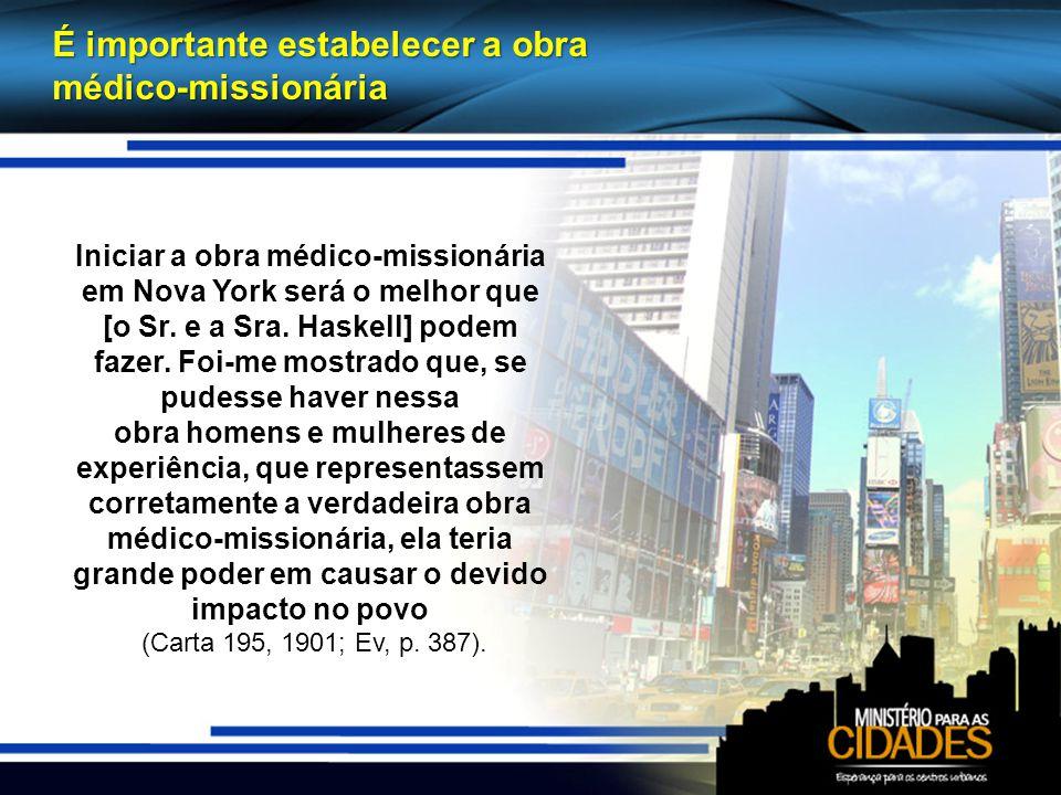 É importante estabelecer a obra médico-missionária Iniciar a obra médico-missionária em Nova York será o melhor que [o Sr.