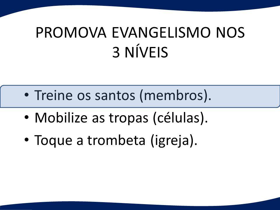 PROMOVA EVANGELISMO NOS 3 NÍVEIS Treine os santos (membros). Mobilize as tropas (células). Toque a trombeta (igreja).