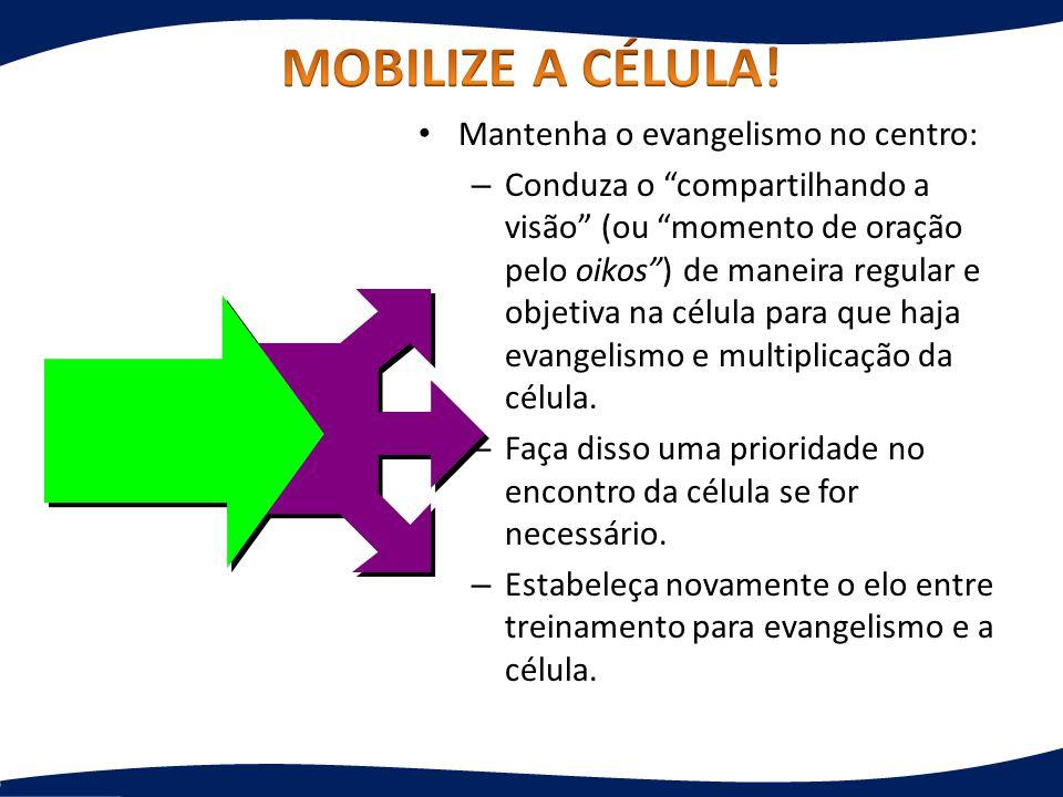 Mantenha o evangelismo no centro: – Conduza o compartilhando a visão (ou momento de oração pelo oikos) de maneira regular e objetiva na célula para qu
