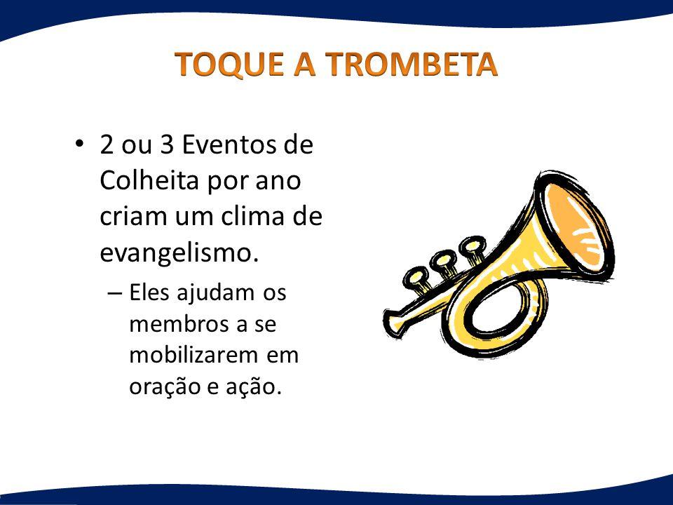2 ou 3 Eventos de Colheita por ano criam um clima de evangelismo. – Eles ajudam os membros a se mobilizarem em oração e ação.