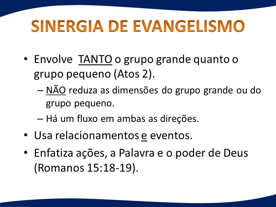 Envolve TANTO o grupo grande quanto o grupo pequeno (Atos 2). – NÃO reduza as dimensões do grupo grande ou do grupo pequeno. – Há um fluxo em ambas as