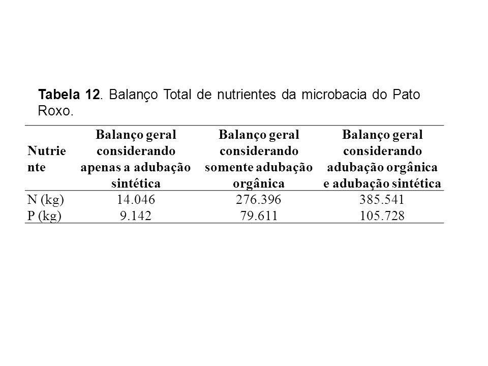 Nutrie nte Balanço geral considerando apenas a adubação sintética Balanço geral considerando somente adubação orgânica Balanço geral considerando adubação orgânica e adubação sintética N (kg) 14.046276.396385.541 P (kg) 9.14279.611105.728 Tabela 12.