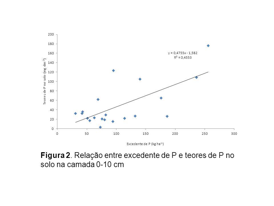 Figura 2. Relação entre excedente de P e teores de P no solo na camada 0-10 cm