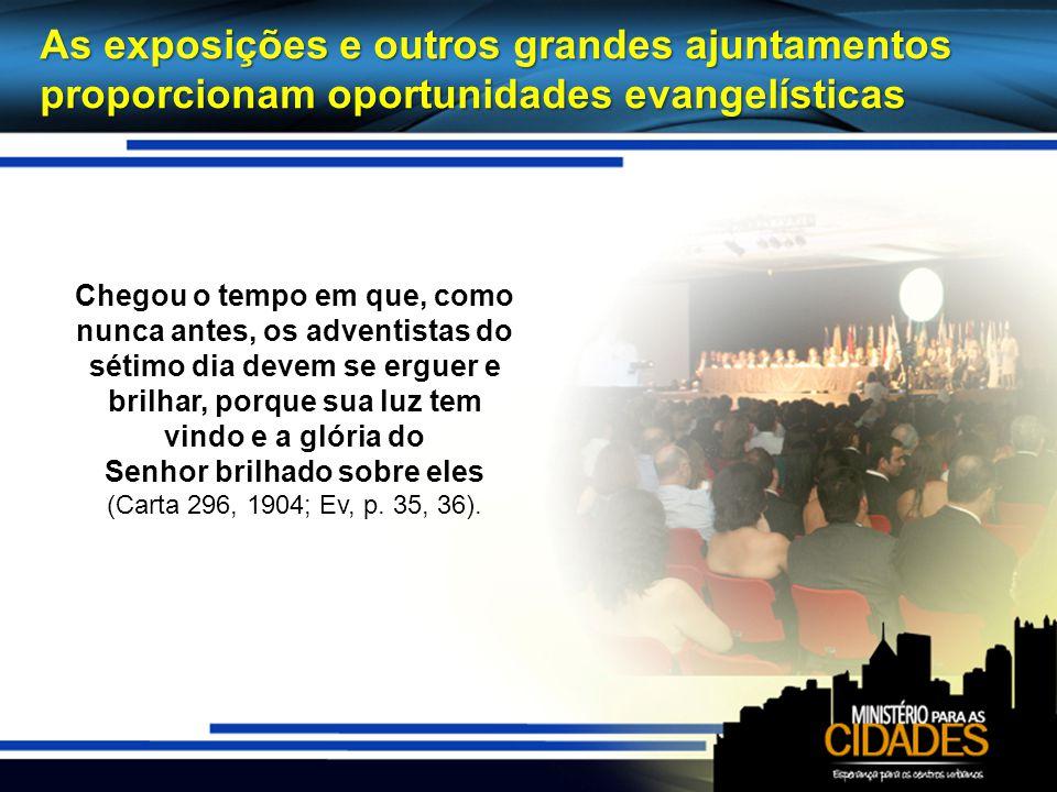 As exposições e outros grandes ajuntamentos proporcionam oportunidades evangelísticas Chegou o tempo em que, como nunca antes, os adventistas do sétim