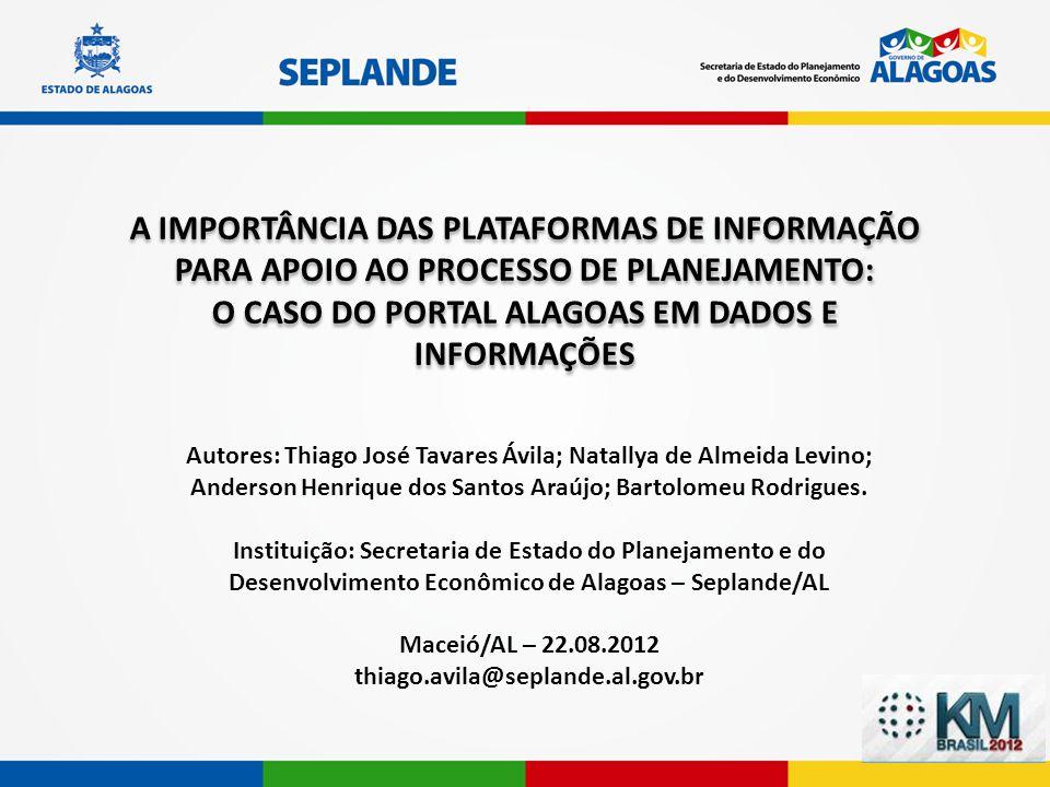 Autores: Thiago José Tavares Ávila; Natallya de Almeida Levino; Anderson Henrique dos Santos Araújo; Bartolomeu Rodrigues. Instituição: Secretaria de