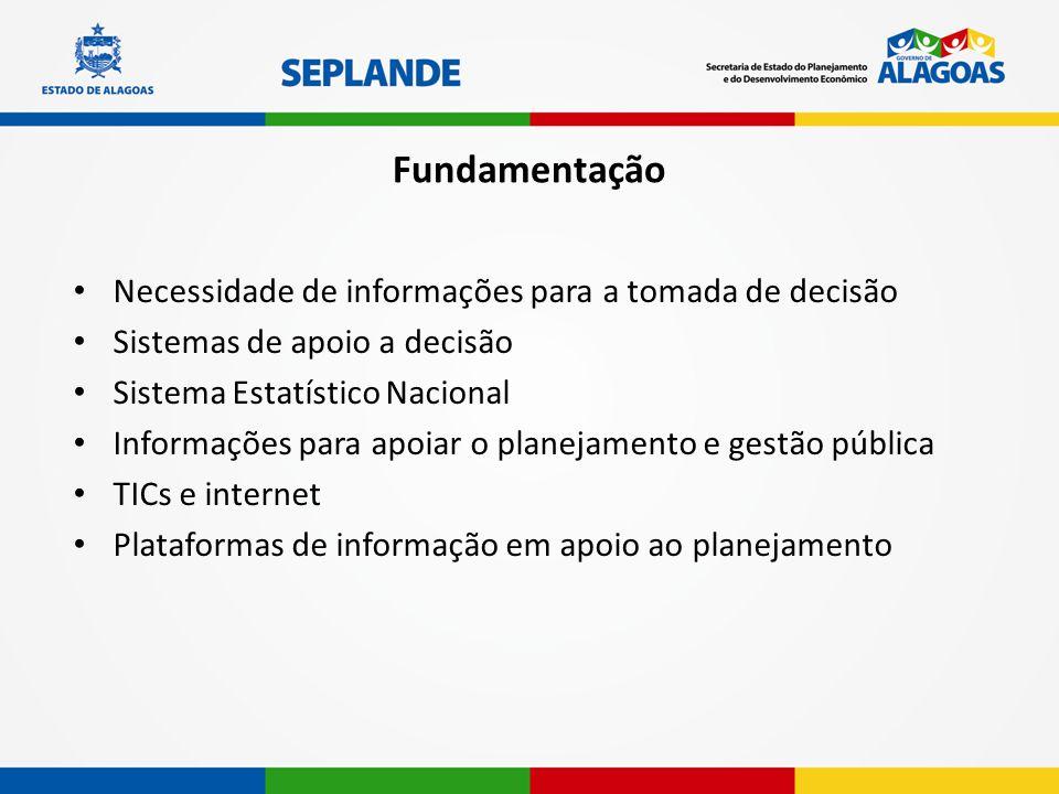 Fundamentação Necessidade de informações para a tomada de decisão Sistemas de apoio a decisão Sistema Estatístico Nacional Informações para apoiar o p