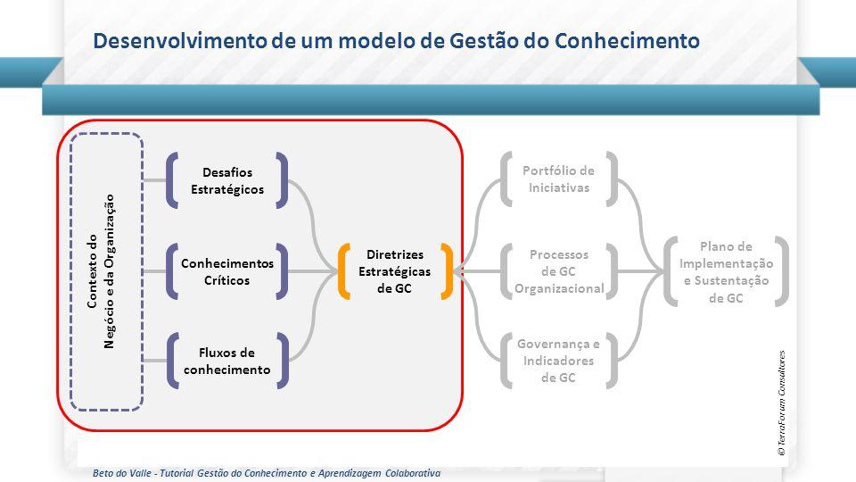 Beto do Valle - Tutorial Gestão do Conhecimento e Aprendizagem Colaborativa Desenvolvimento de um modelo de Gestão do Conhecimento © TerraForum Consul