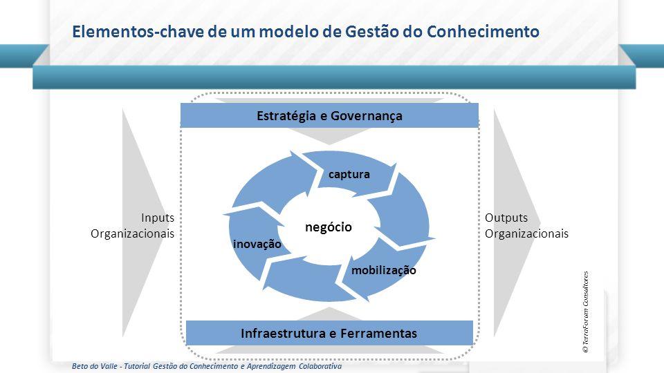 Beto do Valle - Tutorial Gestão do Conhecimento e Aprendizagem Colaborativa Elementos-chave de um modelo de Gestão do Conhecimento © TerraForum Consul