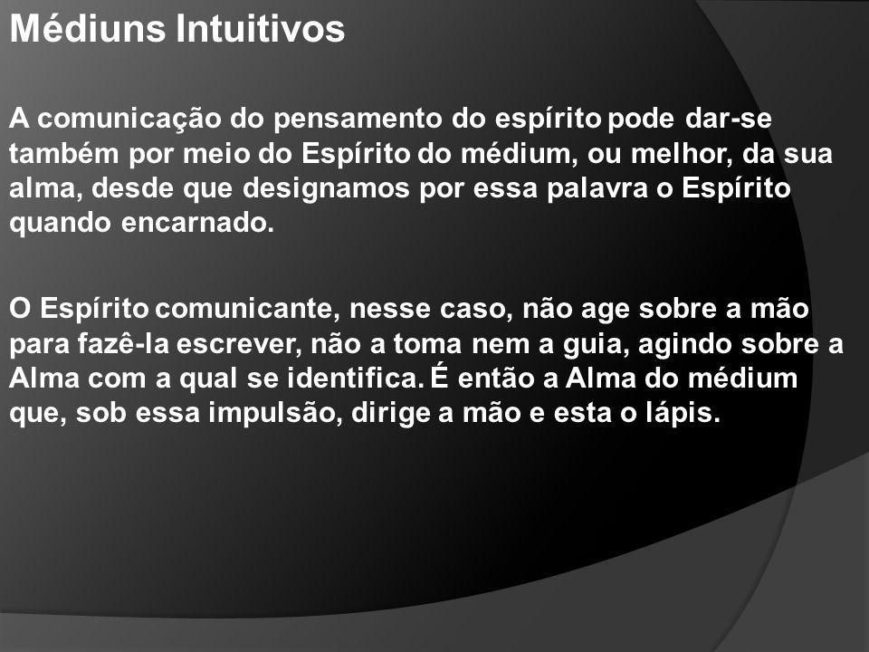 Médiuns Intuitivos A comunicação do pensamento do espírito pode dar-se também por meio do Espírito do médium, ou melhor, da sua alma, desde que design