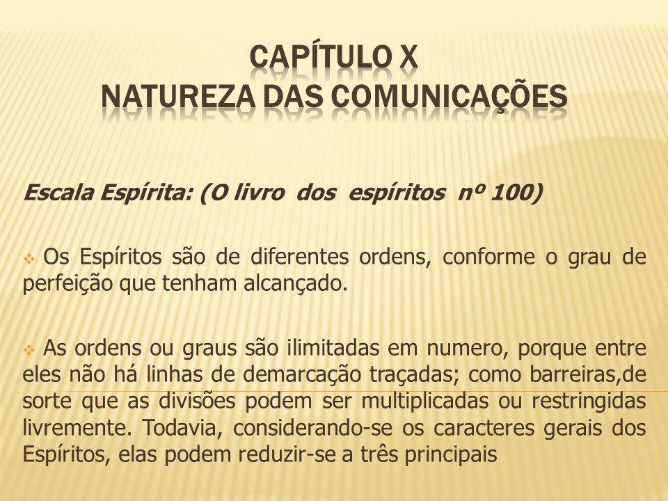 Escala Espírita: (O livro dos espíritos nº 100) Os Espíritos são de diferentes ordens, conforme o grau de perfeição que tenham alcançado. As ordens ou