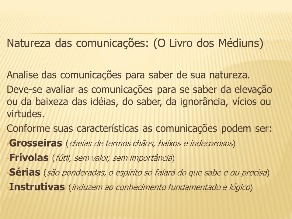 Natureza das comunicações: (O Livro dos Médiuns) Analise das comunicações para saber de sua natureza. Deve-se avaliar as comunicações para se saber da