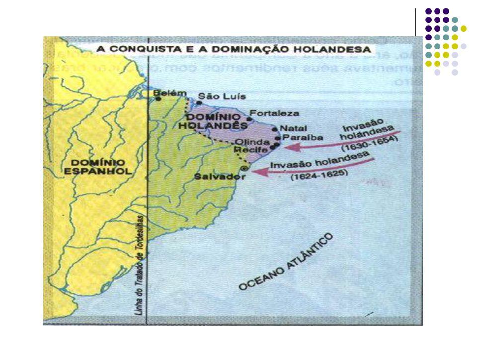AS INVASÕES HOLANDESAS BAHIA 1ª INVASÃO: BAHIA ( 1624 – 1625 ) SALVADOR É TOMADA PELOS HOLANDESES MATIAS DE ALBUQUERQUE O GOVERNADOR FOI PRESO E A RESISTÊNCIA COUBE AO GOV.