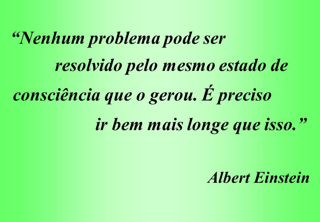 Nenhum problema pode ser resolvido pelo mesmo estado de consciência que o gerou. É preciso ir bem mais longe que isso. Albert Einstein