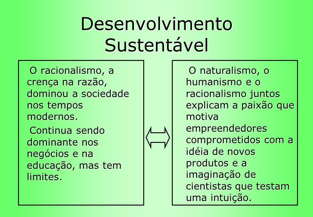Desenvolvimento Sustentável O racionalismo, a crença na razão, dominou a sociedade nos tempos modernos. O racionalismo, a crença na razão, dominou a s