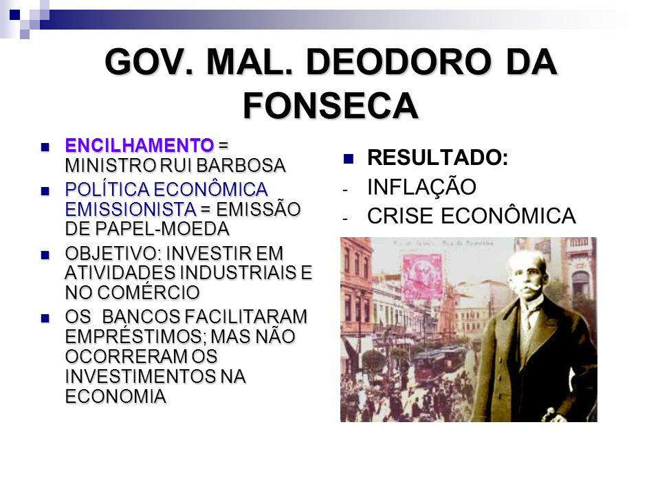 GOV. MAL. DEODORO DA FONSECA ENCILHAMENTO= MINISTRO RUI BARBOSA ENCILHAMENTO = MINISTRO RUI BARBOSA POLÍTICA ECONÔMICA EMISSIONISTA = EMISSÃO DE PAPEL