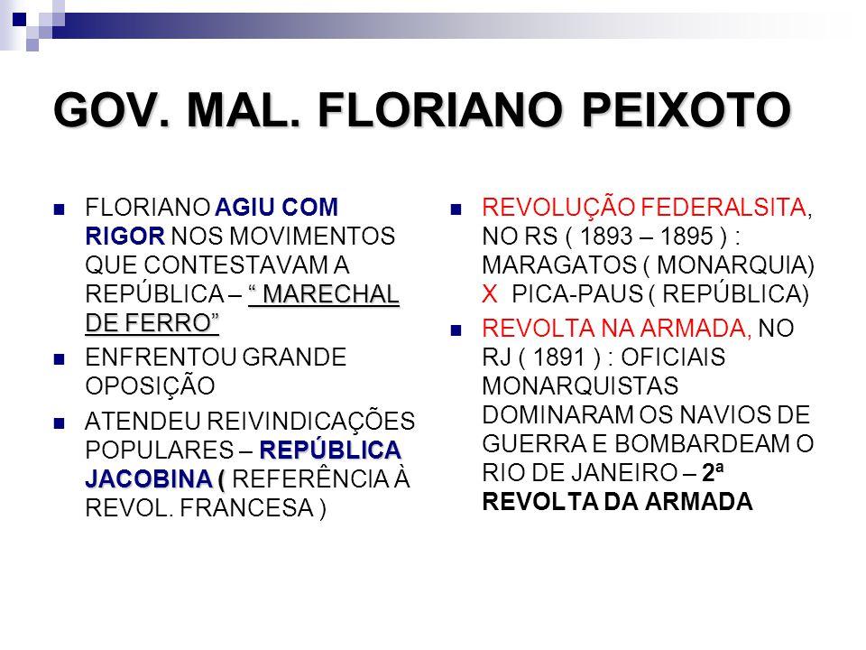 GOV. MAL. FLORIANO PEIXOTO MARECHAL DE FERRO FLORIANO AGIU COM RIGOR NOS MOVIMENTOS QUE CONTESTAVAM A REPÚBLICA – MARECHAL DE FERRO ENFRENTOU GRANDE O