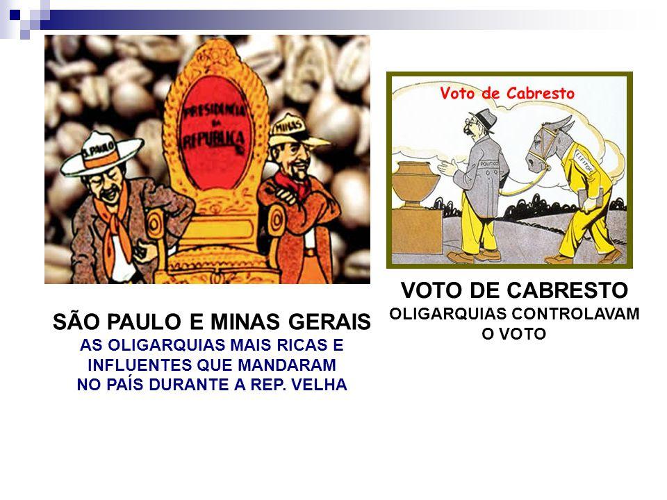 SÃO PAULO E MINAS GERAIS AS OLIGARQUIAS MAIS RICAS E INFLUENTES QUE MANDARAM NO PAÍS DURANTE A REP. VELHA VOTO DE CABRESTO OLIGARQUIAS CONTROLAVAM O V