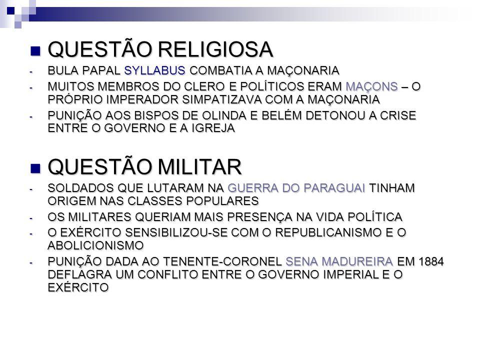 QUESTÃO RELIGIOSA QUESTÃO RELIGIOSA - BULA PAPAL SYLLABUS COMBATIA A MAÇONARIA - MUITOS MEMBROS DO CLERO E POLÍTICOS ERAM MAÇONS – O PRÓPRIO IMPERADOR