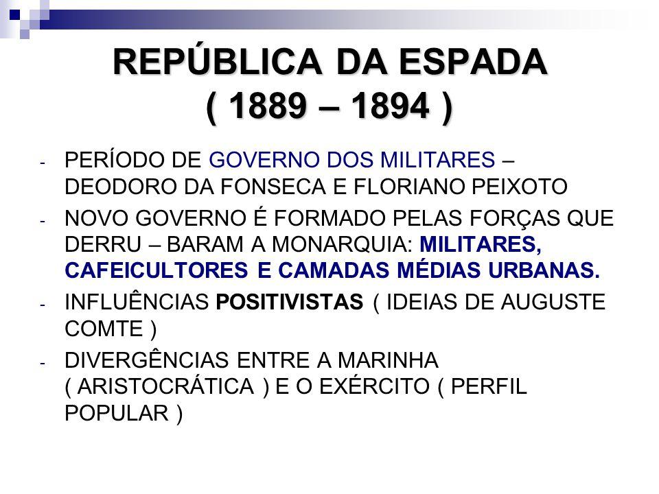 REPÚBLICA DA ESPADA ( 1889 – 1894 ) - PERÍODO DE GOVERNO DOS MILITARES – DEODORO DA FONSECA E FLORIANO PEIXOTO - NOVO GOVERNO É FORMADO PELAS FORÇAS Q